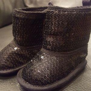 Black sequin boots, infant